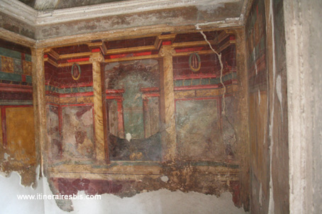 visite de la villa romaine oplontis pr 232 s de pompe 239 fresque d une des chambres
